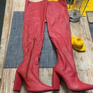 Red thigh high boots